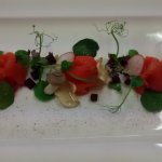 smoked salmon and Autumn forest fruits