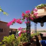 Terrasses semi couvertes et fleuries, fraîcheur et parfum de l'oasis