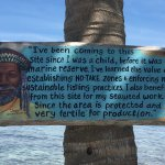 A really great sign nailed to a palm tree on Silk Caye.