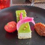 entrée colorée, bavarois au foie gras, figue