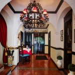 Entry to Casa Sirena with hand-wrought iron chandelier