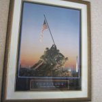 The picture reflected the name of the hotel The Iwo Jima