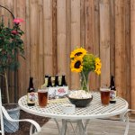 The fenced-in back garden courtyard of the pet-friendly Cottage with local craft beer.