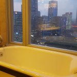 bath tub with a view of the city