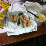 Cheddar Ale Soup w/honey mustard pretzels - plus today's sandwich special.