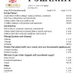 Current Menu and Prices as of September 2016 - All prices INCLUDE tax