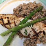 Grilled halibut with asparagus and farro
