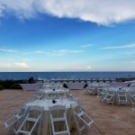 A wedding reception on the beach veranda