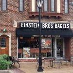 Front & outdoor seating for Einstein Bros Bagels