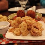 Fried calamari and arancinni.