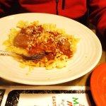 Bowtie pasta with meatballs