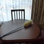 Dirty duster left on the dining table when we entered the room