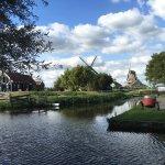 View of Zaanse Schans windmills and water ways