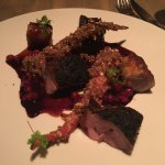 Lightly Smoked Duck, Roast Leg Meat, Huckleberry Sauce, Candied Carrots