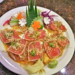 Tuna Tataki Sashimi with Daikon and Ponzu