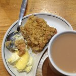 Rubharb crumble with clotted Cornish cream