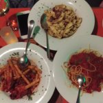 Pasta dishes, Plain with tomato sauce, pasta with shrimps and pasta with eggplant.