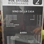 L'elenco del vino e delle birre