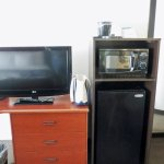 Room TV, microwave, and refrigerator.