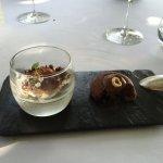 Le premier des desserts, panacotta et ganache au chocolat