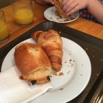 Large croissants and pain au chocolates. A very yummy breakfast.