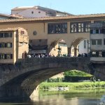 The Ponte Vecchio taken from the Hotel Lungarno's outdoor lounge. Can walk there in two minutes.