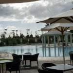 Cloudy early evening by pool.