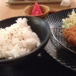 katsu, fruits and rice