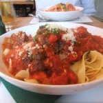 Meatballs and pasta.