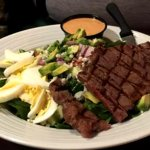 NY Strip Salad (minus tomatoes) Steak was perfect Med Rare, all produce was fresh and crisp