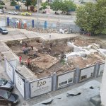 A Roman ruin being excavated. In the parking lot!