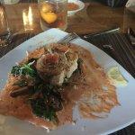 Swordfish over raviolis Eggplant Special