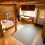 Loft Chalet. Queen bed plus Double bed and Single bed in loft. Gas fireplace. En-suite bathroom
