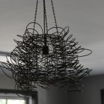 Chandelier in the Pub, made of salvaged bed springs!