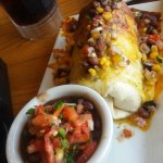 Steak Burrito. Tender Beef Chunks with Rice and Beans. Delicious