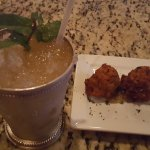 peach julep and sweet potato/rice fritters - awazing