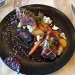 Duck Magret, rare, with root veggies. Delicious.