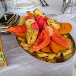 Breakfast with coloured jamaican fruits