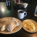 Biscuits and Gravy, spicy sausage is great, as is the coffee. Soft scrambled eggs done right.