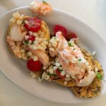 Perfect fried green tomatoes, with shrimp, fresh corn and cherry tomatoes