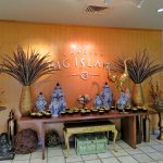 Pheasant feathers in Hawaii!. Welcoming artful display. Manty throughout showroom.