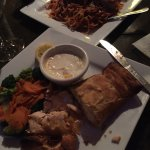 Amazingly good food!! Eggplant parmigiana and the salmon wrapped in pastry. Nikki and Alisha mad