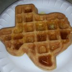 A Texas shaped waffle. First time ever and many more to come, while in Texas.