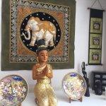 Elephant tapestry, praying goddess, Bangkok Thai,  259 Island Highway E, Parksville, BC