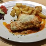 Really tasty monkfish in a tomato sauce served with sautéed potatoes.