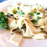 Fresh Pappardelle with Peas & Mushrooms