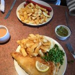 Beautiful Cod, chips and garden peas. Saveloy and chips, mushy peas. Excellent quality, generous
