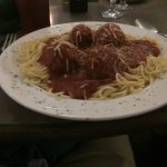 Spaghetti and meat balls as a main dish.