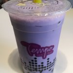 Taro milk tea with tapioca boba