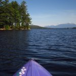 Kayaking on South Twin Lake from Lodge beach, Mt. Katahdin in distance.
